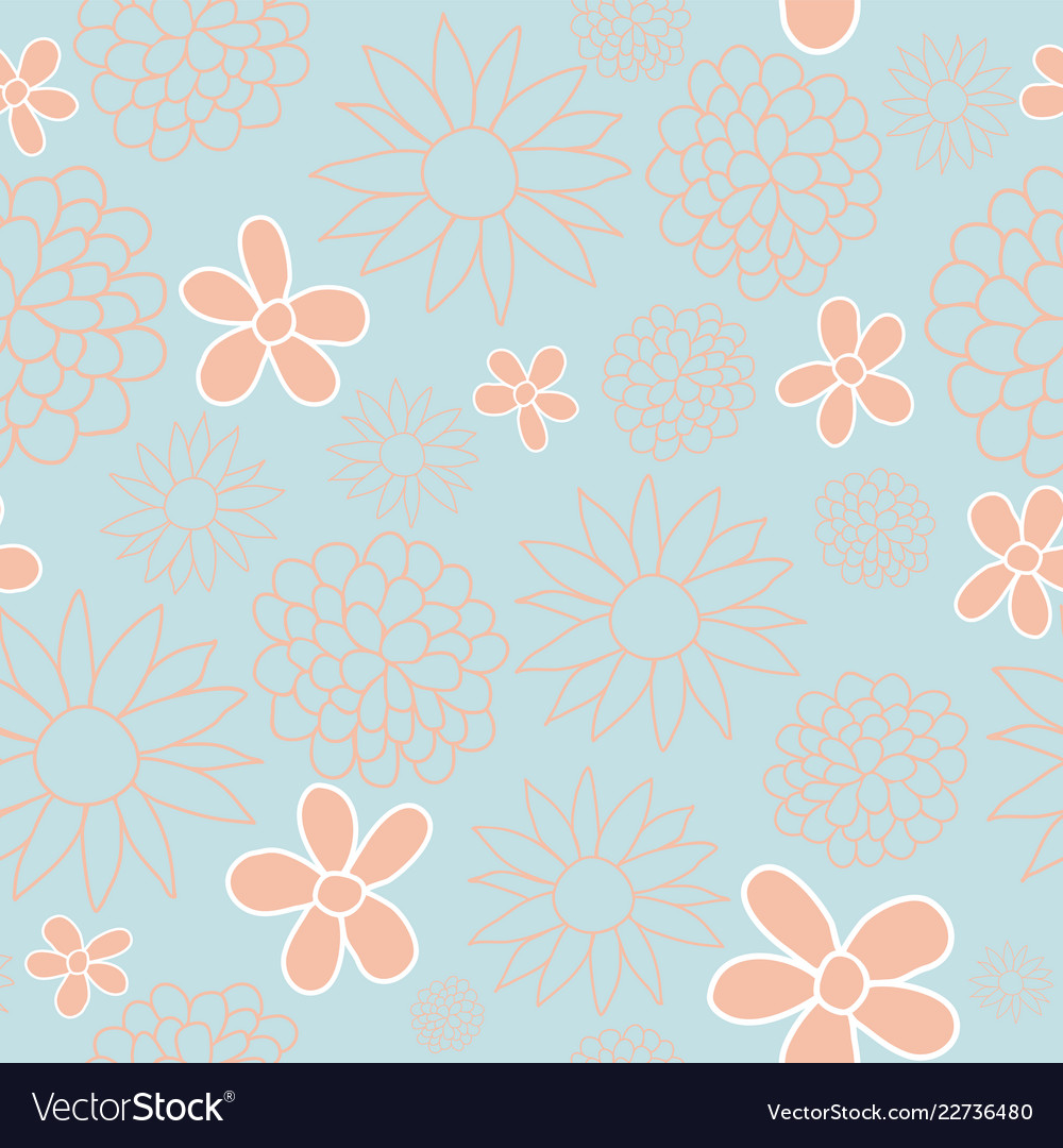 Blue and peach floral seamless pattern design