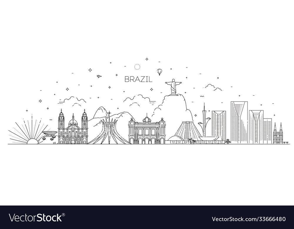Brazil architecture line skyline