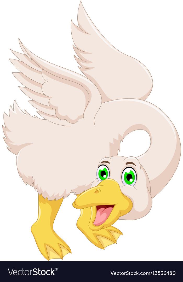 Cute goose cartoon posing