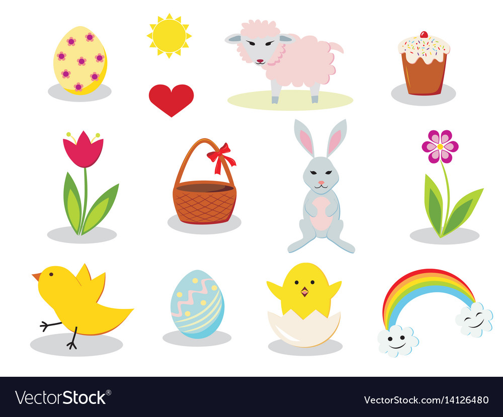 Easter elements vector image
