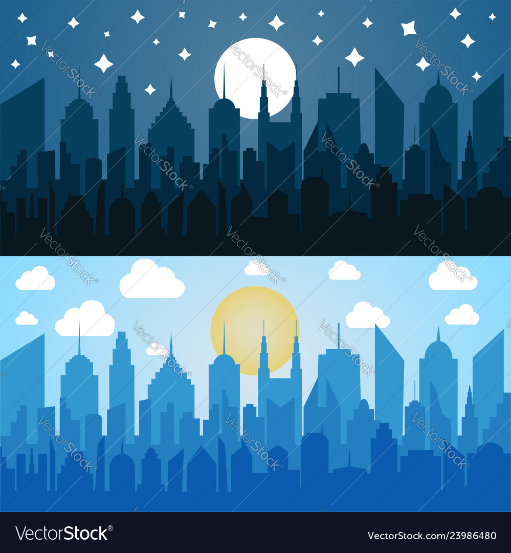 Flat blue cityscapes horizontal banners