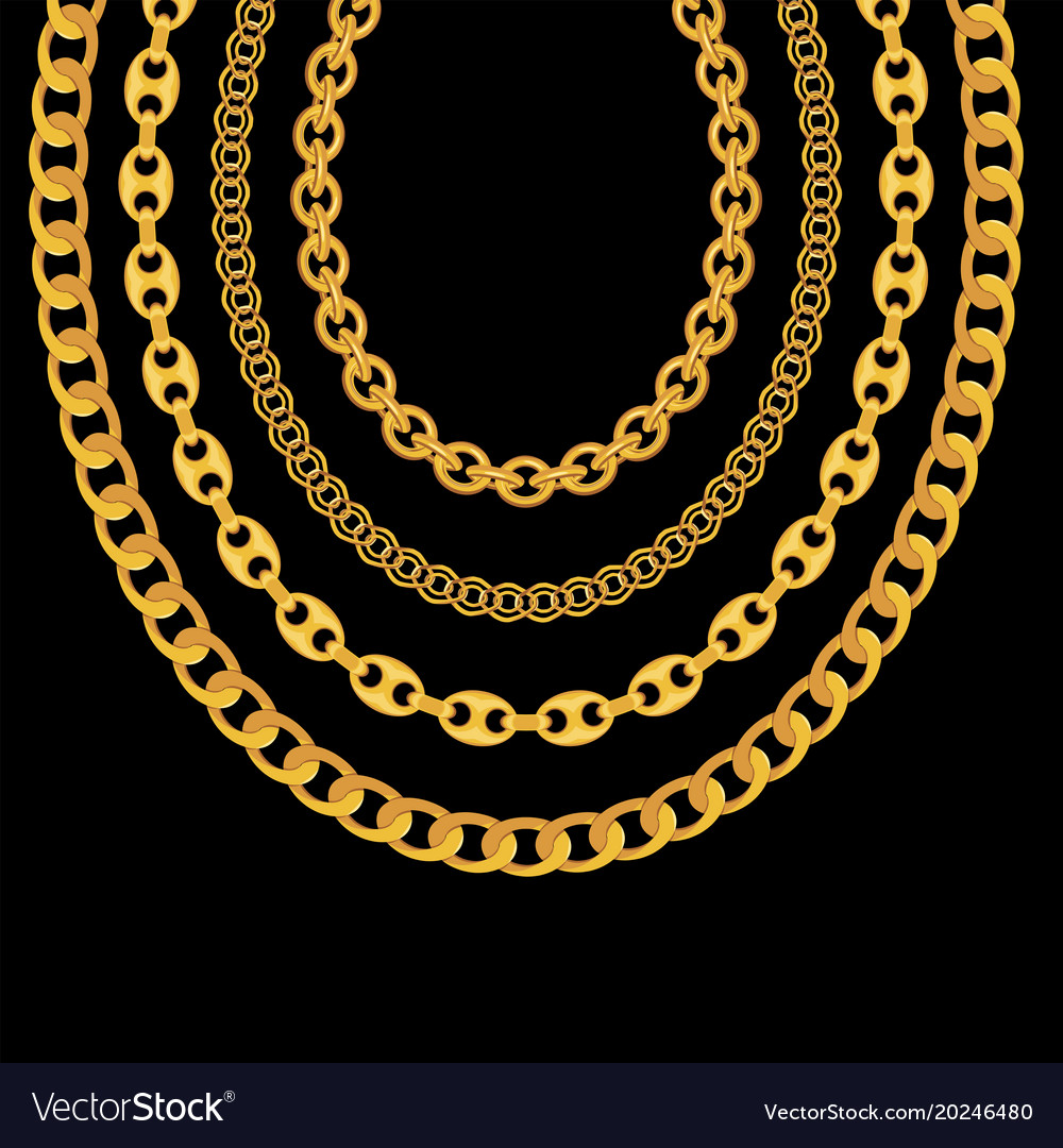 Gold Chain Jewelry On Black Background Royalty Free Vector