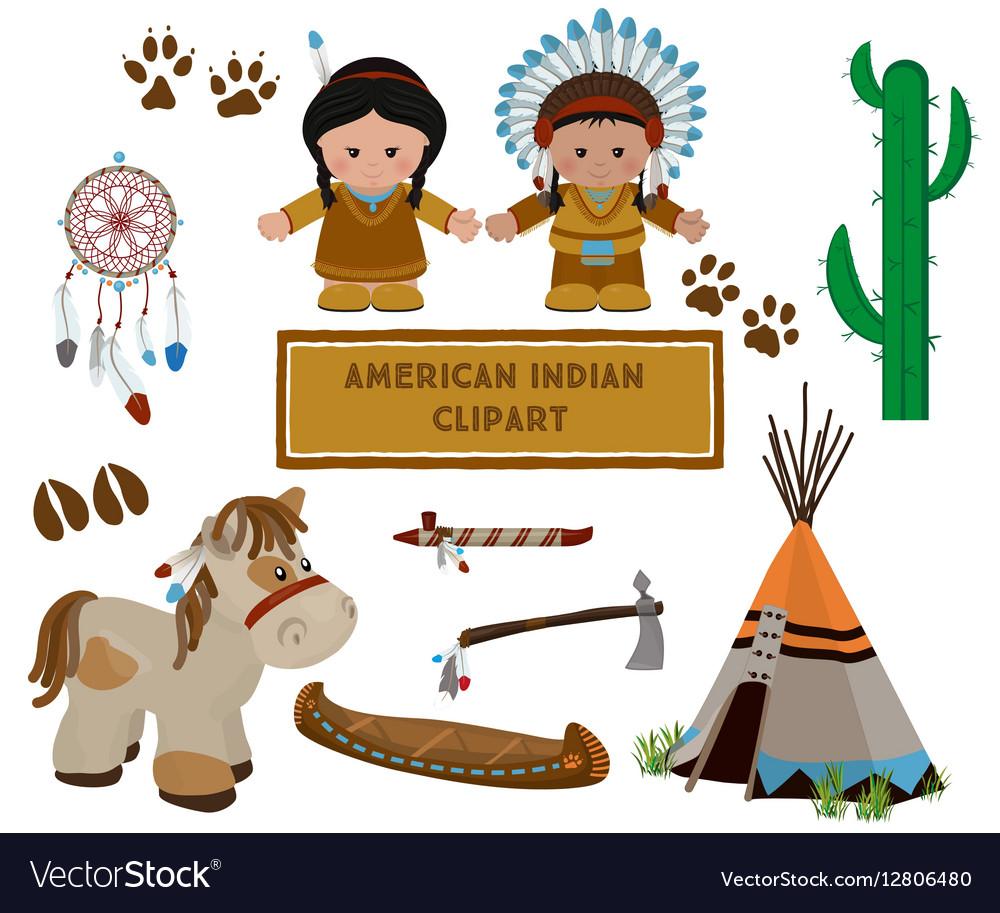 Indian Symbols Set Cartoon Characters Of American Vector Image