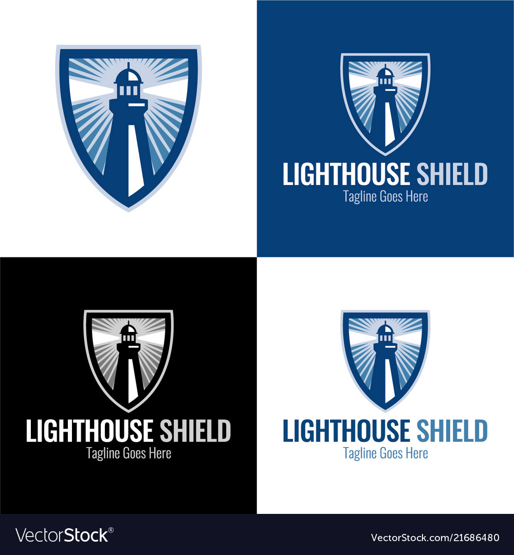 Lighthouse shield icon and logo