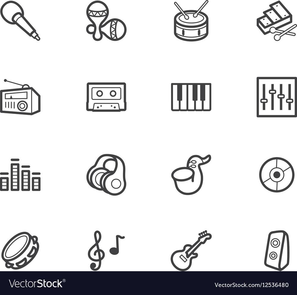 Music element black icon set on white background