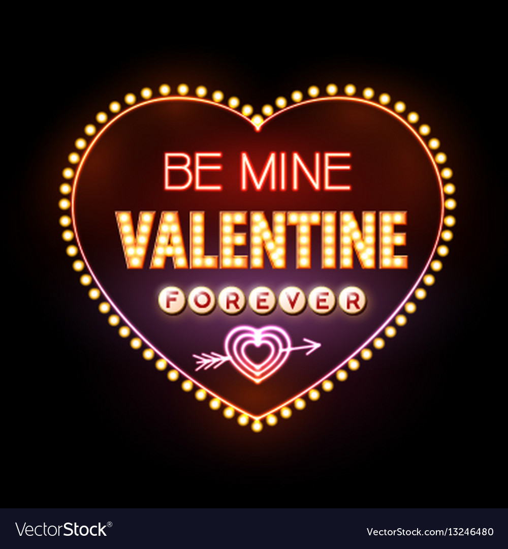 Neon sign valentines day typography background
