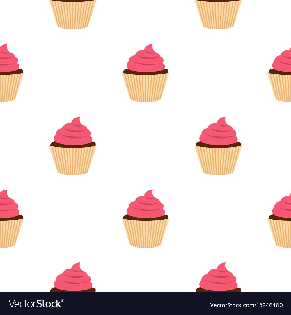 Pink cupcake pattern seamless