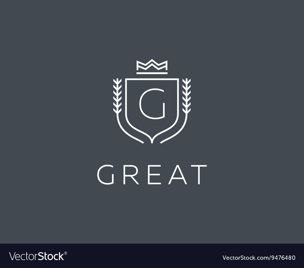 Premium monogram letter G initials ornate