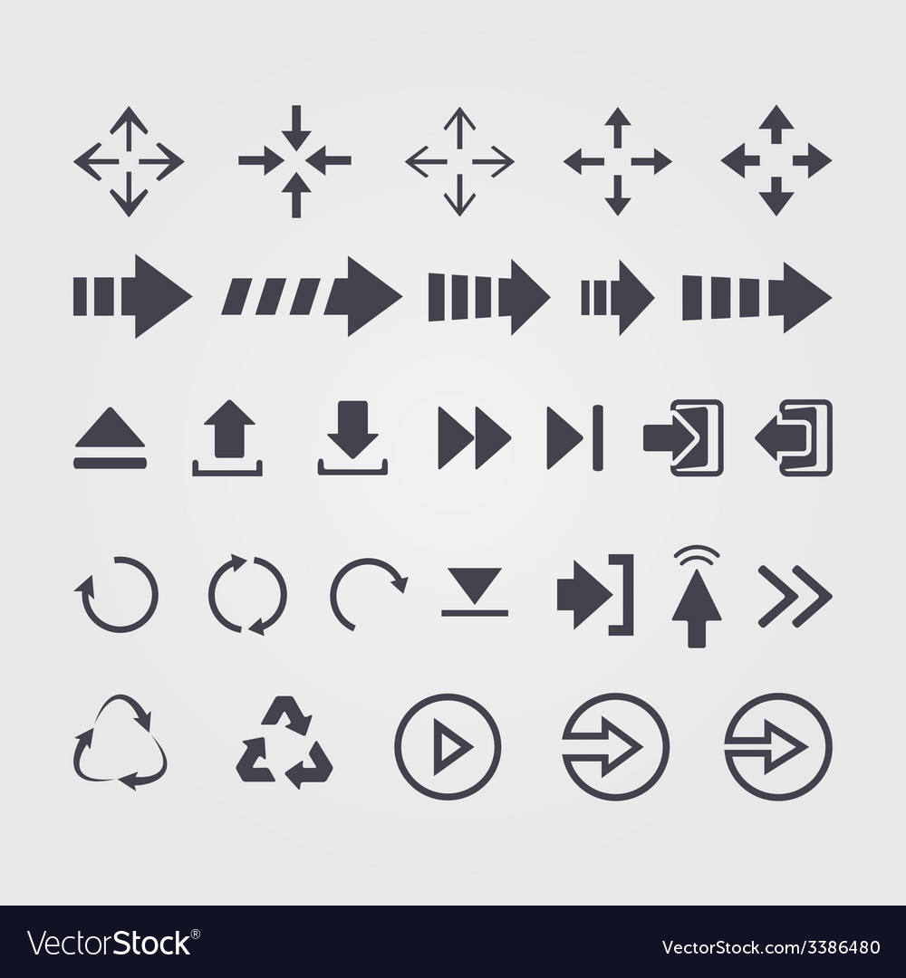 Set of different arrows signsymbol