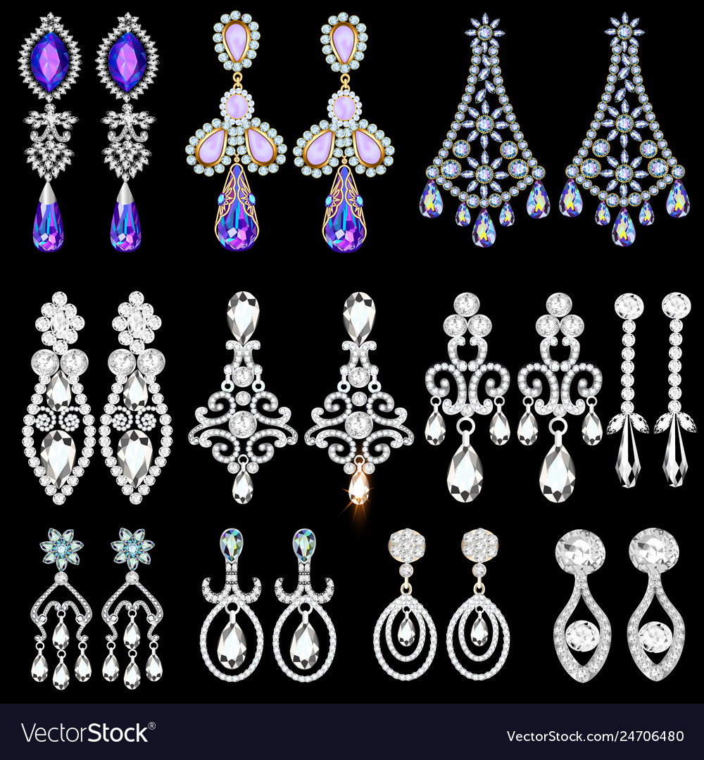 Set of jewelry earrings with precious stones