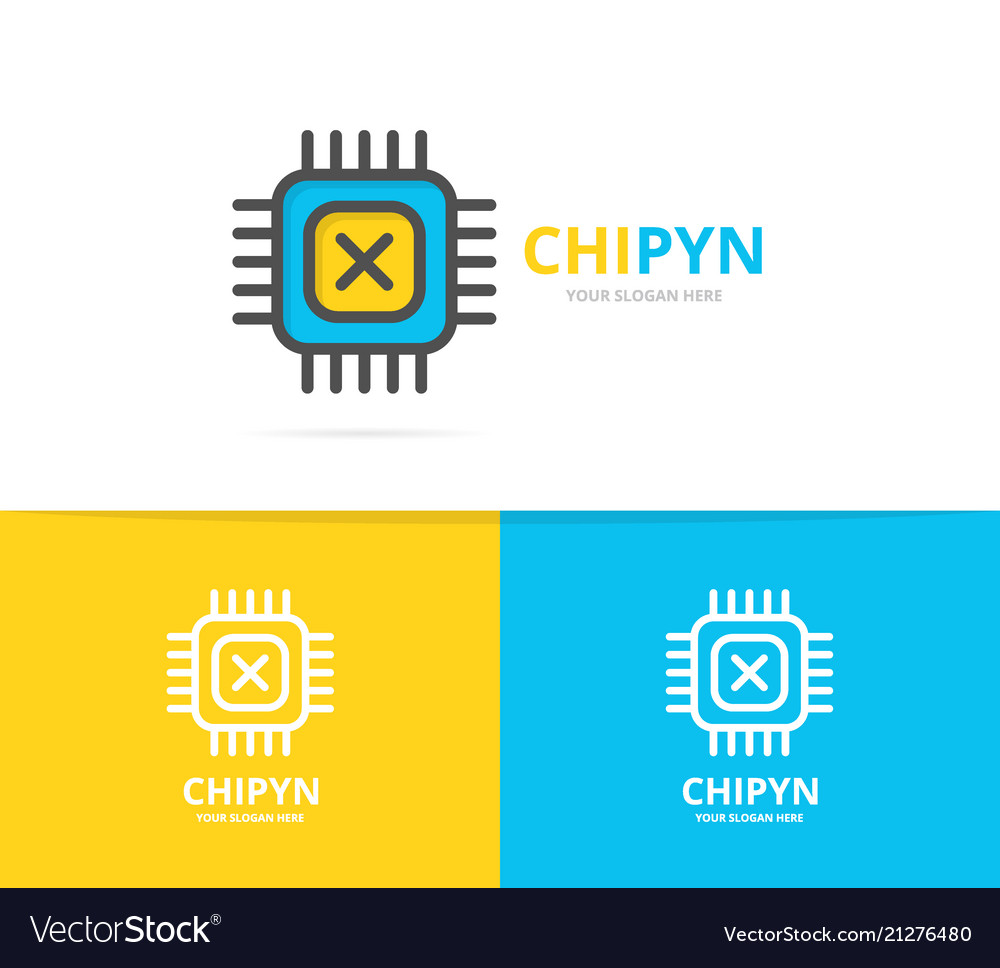 Simple computer micro chip and processor logo