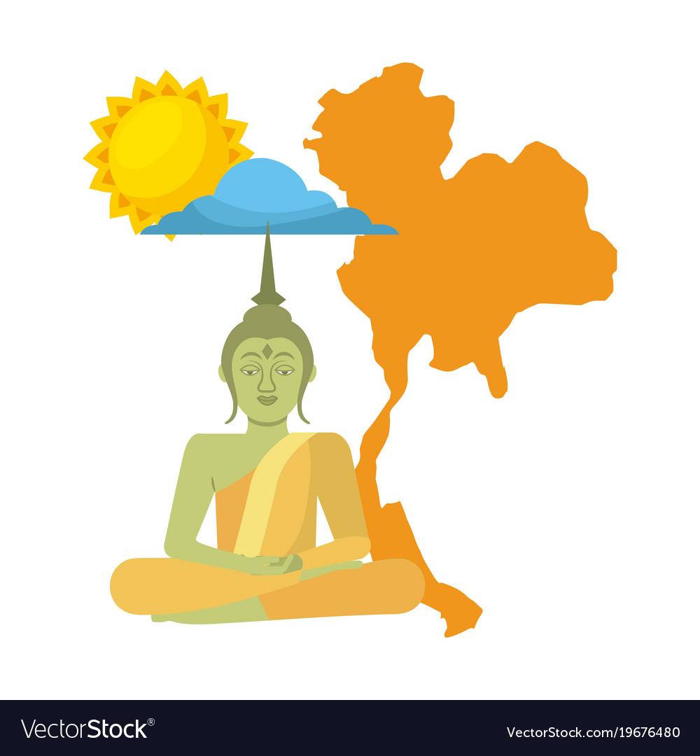 Thailand buddha map sun cloud