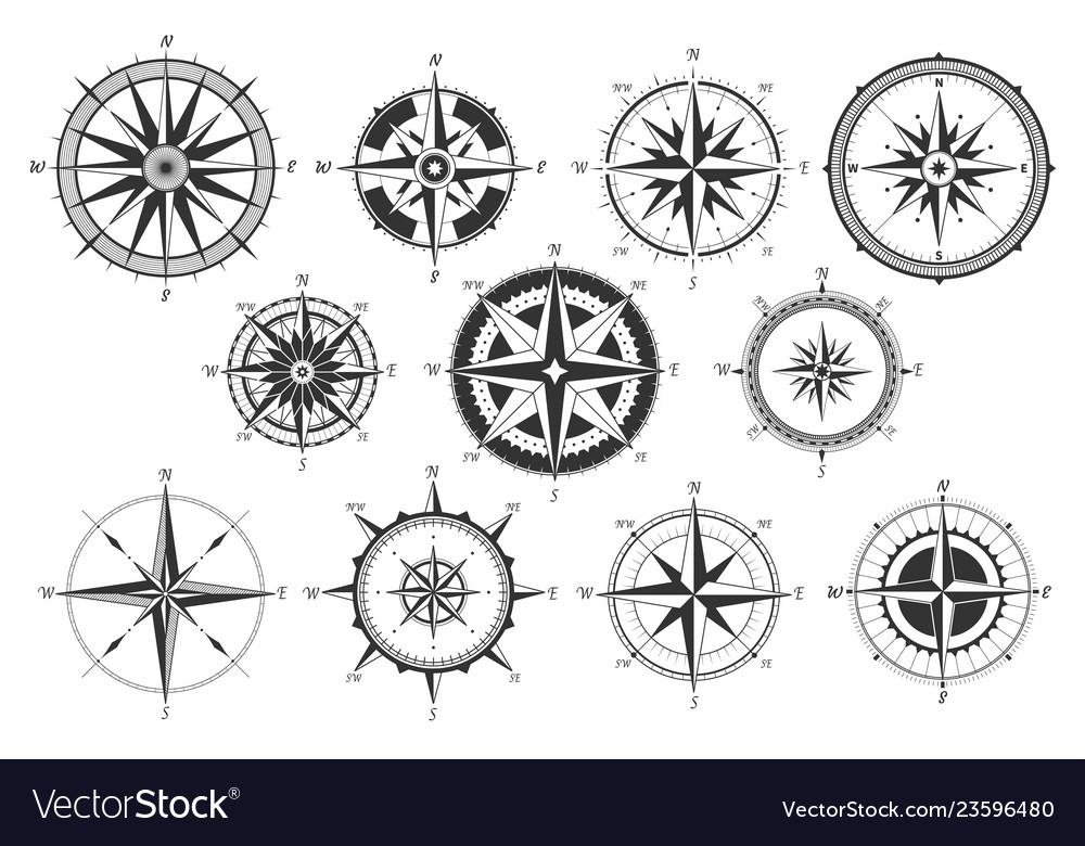 Vintage compass nautical map directions vintage