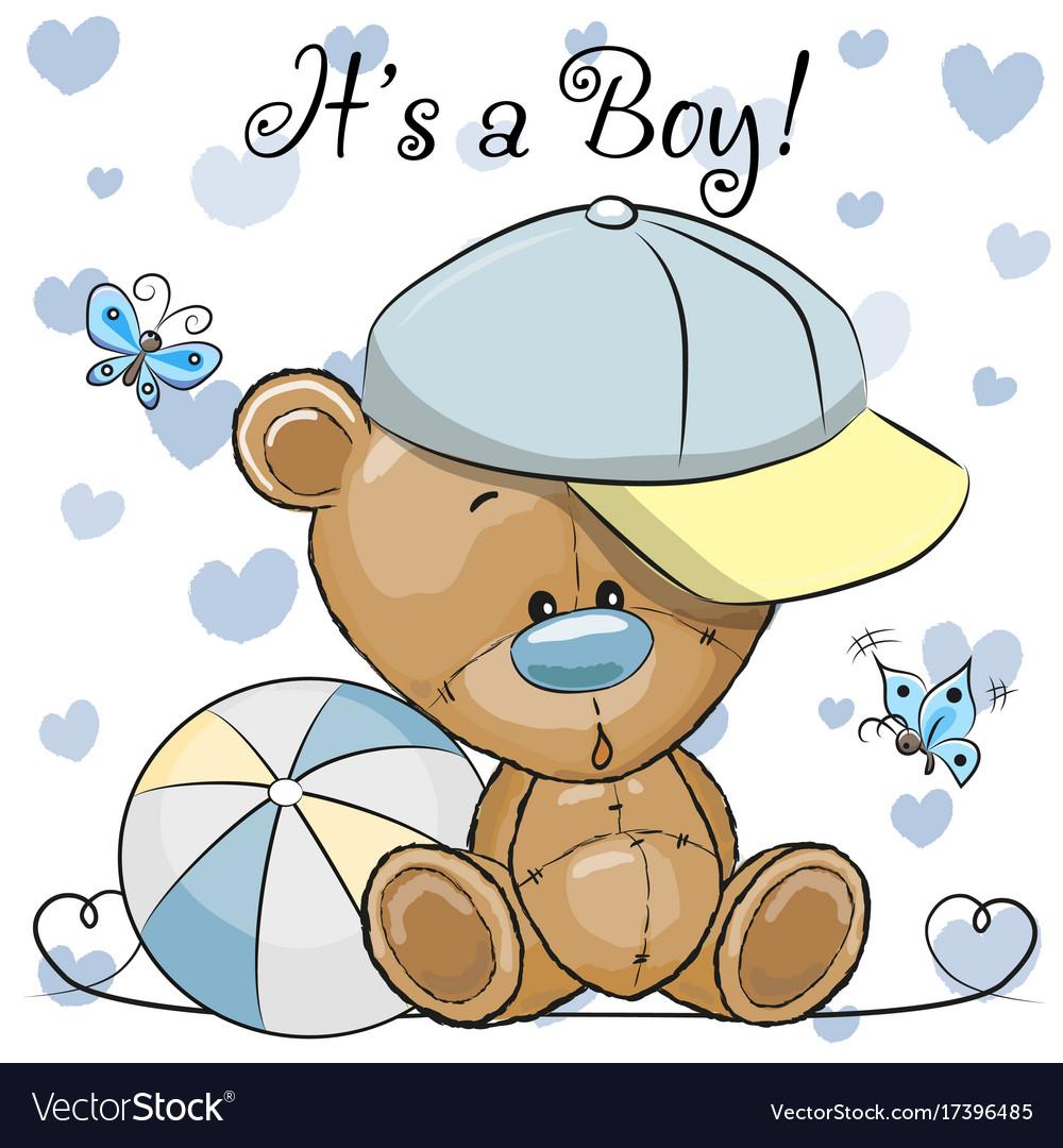 Baby Shower Greeting Card With Cute Teddy Bear Boy
