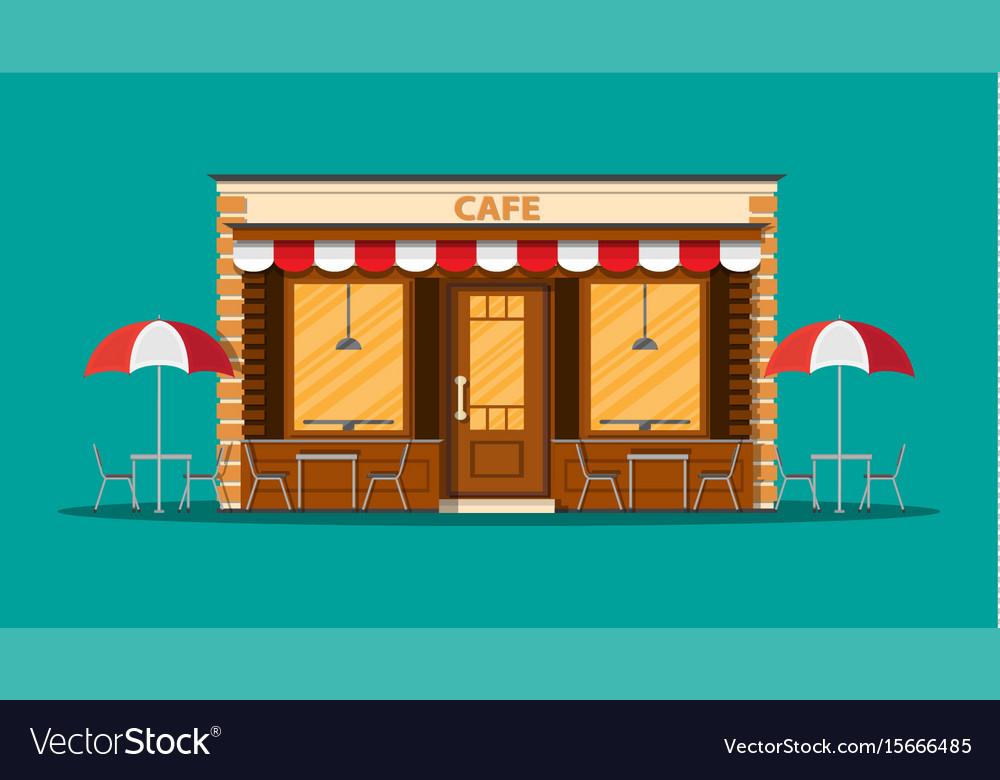 Cafe shop exterior street restraunt building vector image