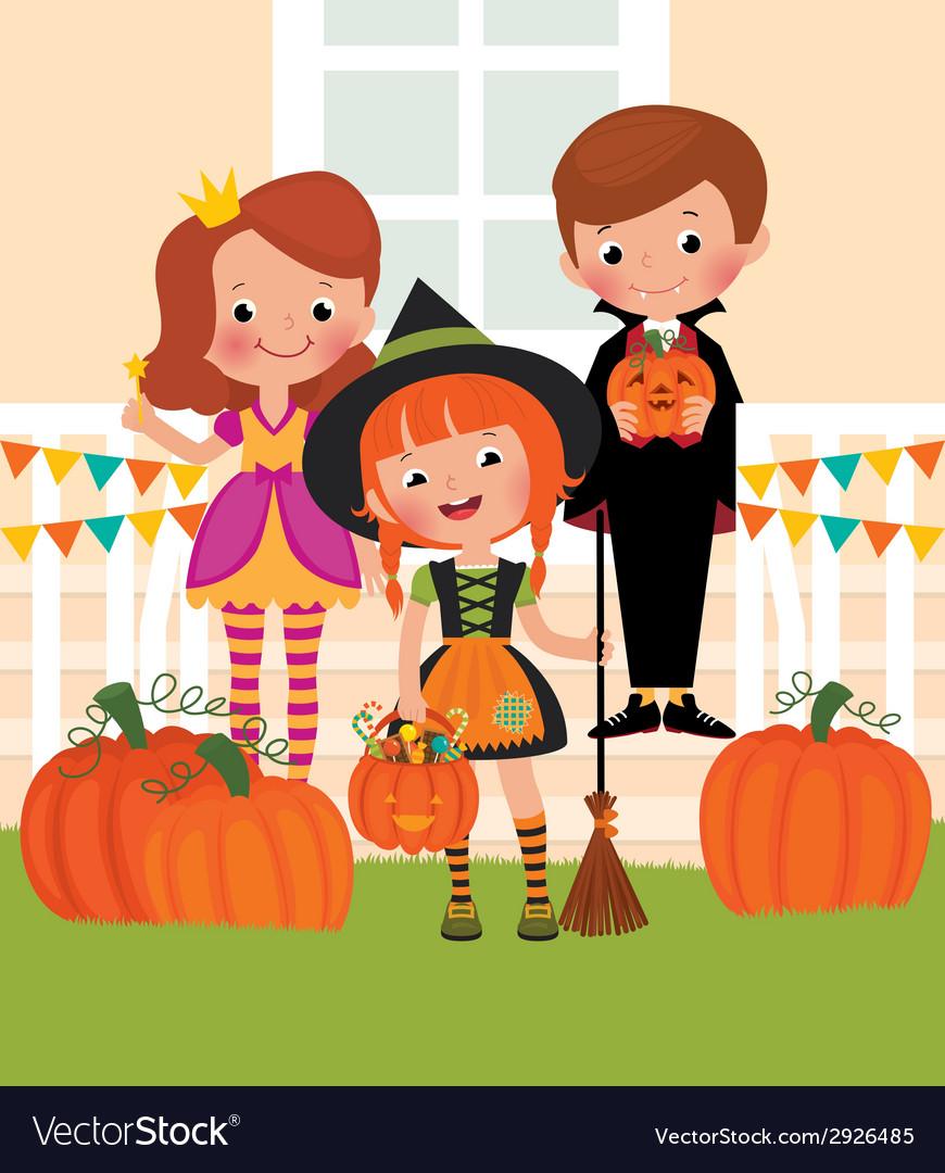 Children in celebration of Halloween on the doorst