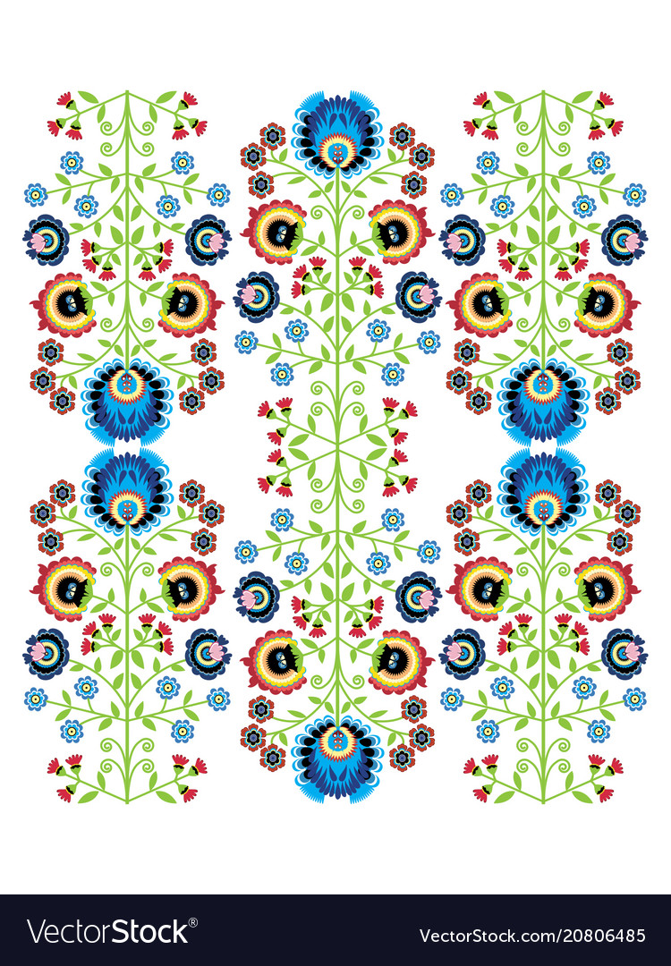 Colorful polish folk inspired traditional floral p vector image