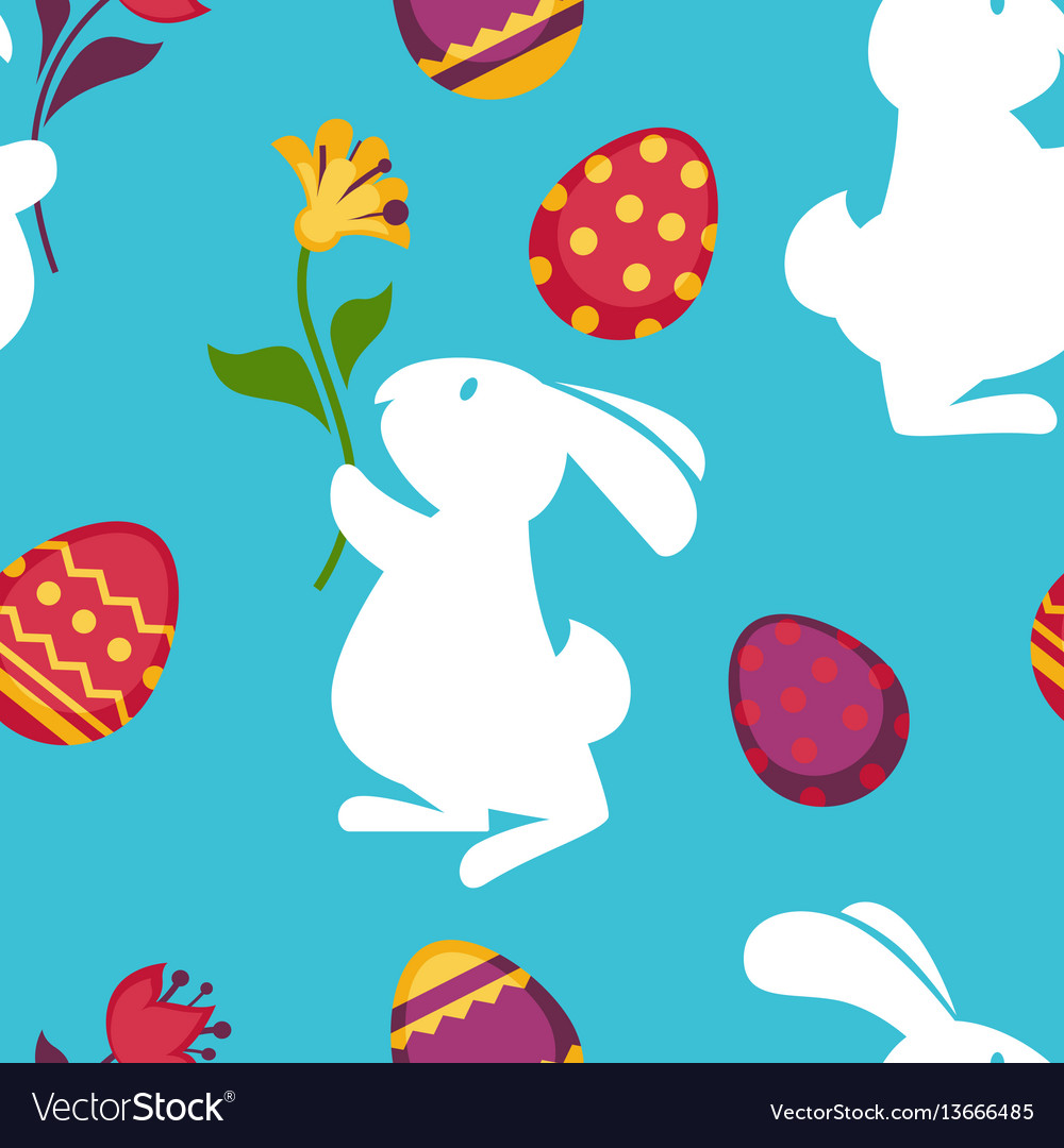Easter paschal eggs and bunny seamless pattern