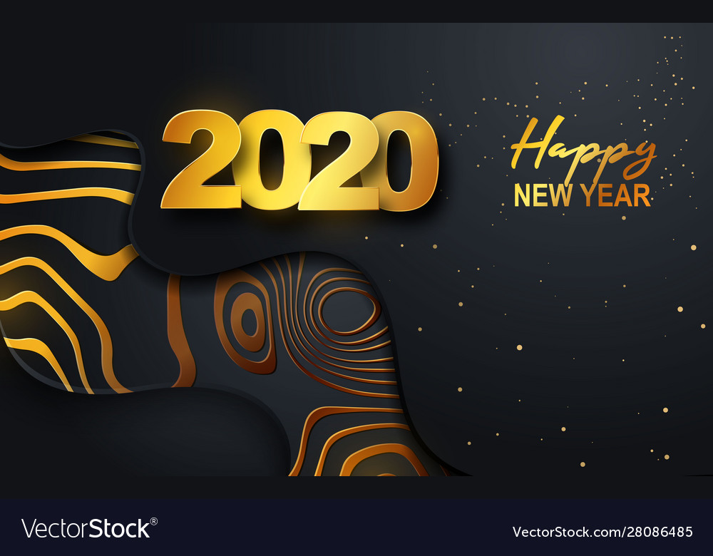 Happy new year 2020 gold numbers on a black