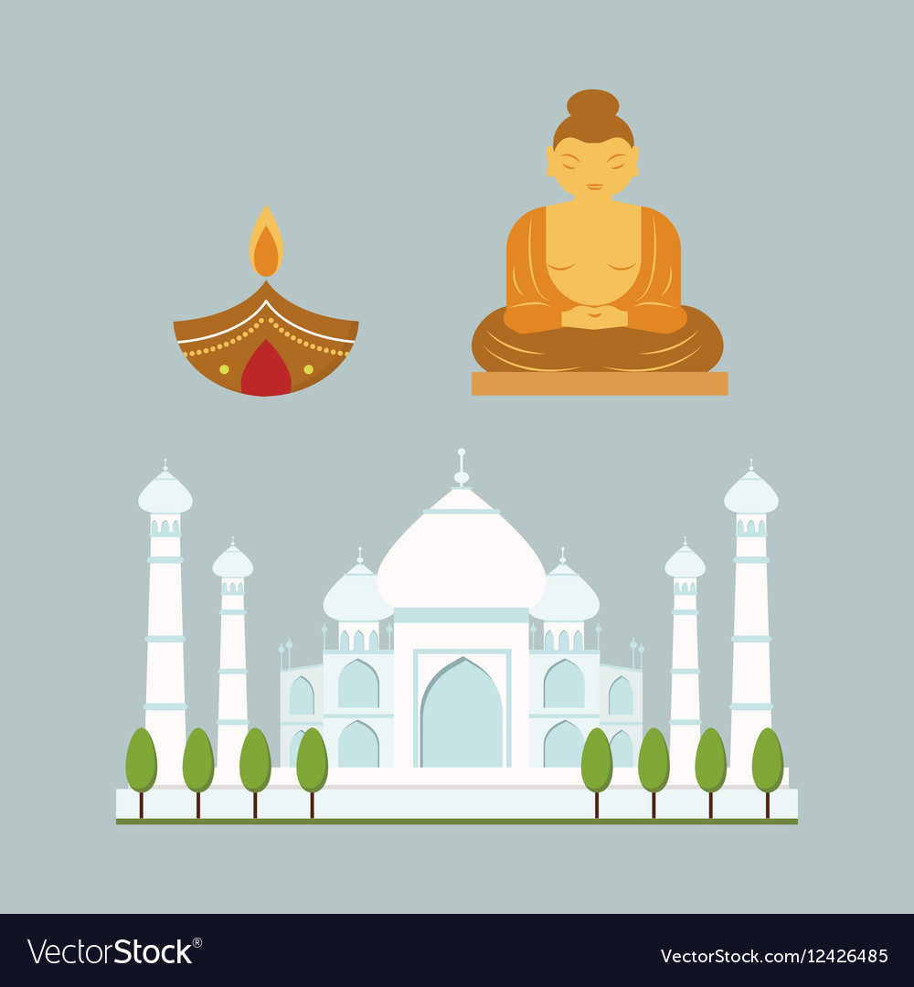 India landmark travel icons collection