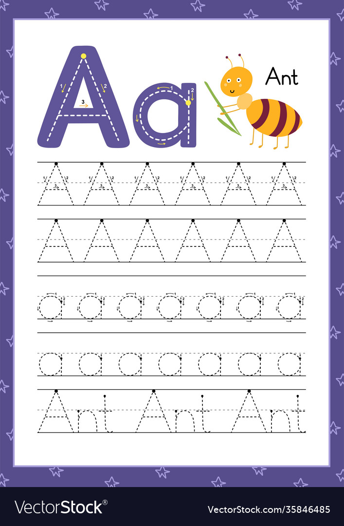 Letter a handwriting practice worksheet learning