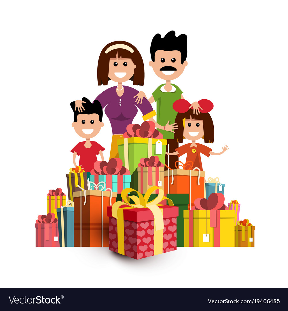 People with paper gift boxes happy family and vector image