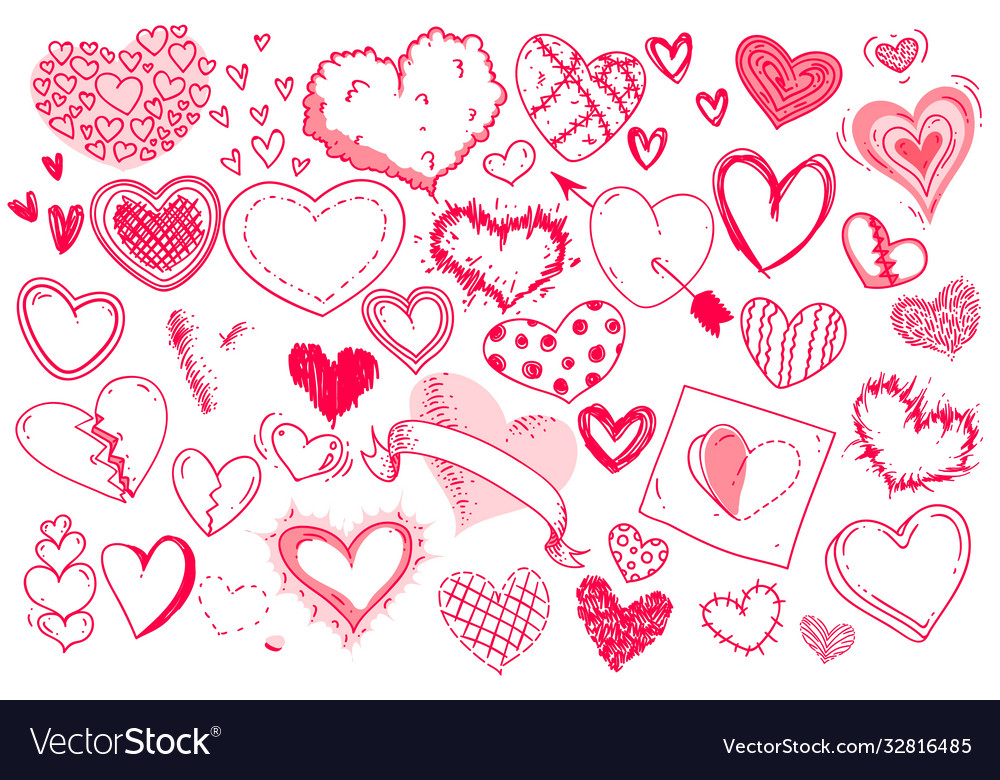 Red doodle heart set isolated on white background
