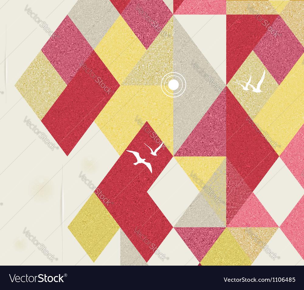 Retro Geometric Background with birds