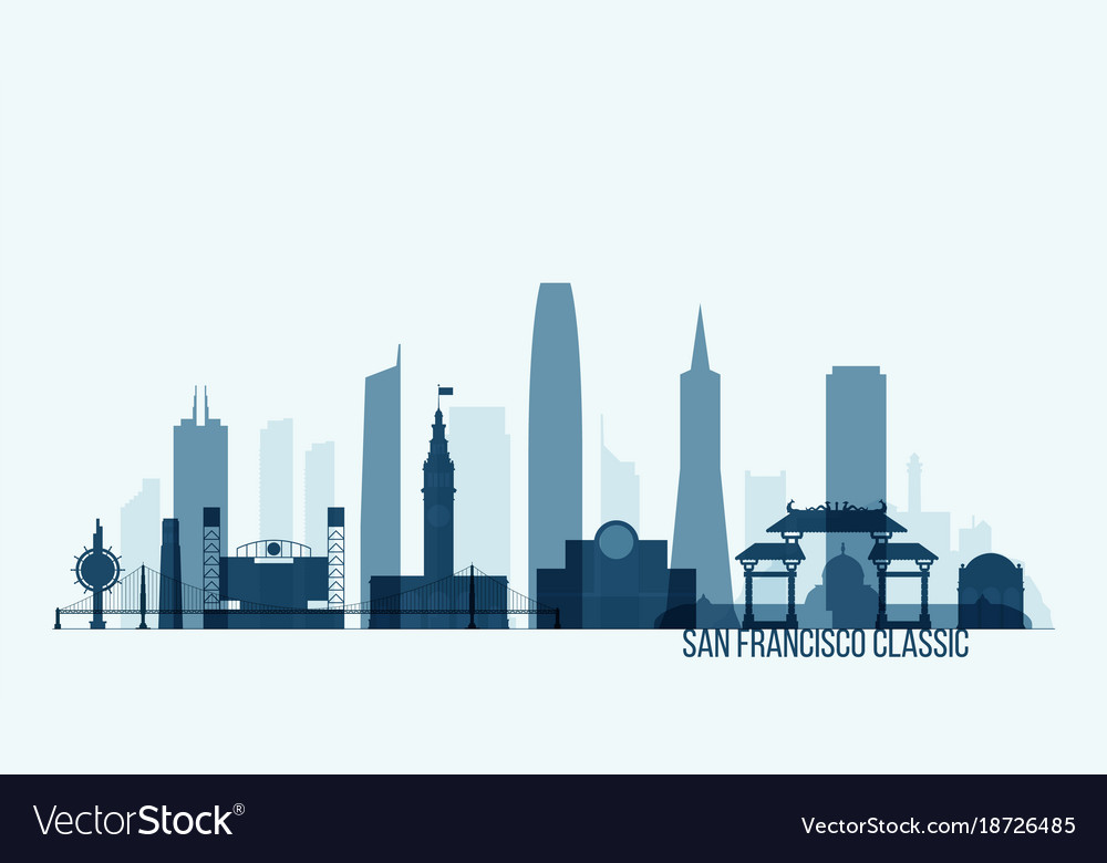 san francisco skyline building royalty free vector image rh vectorstock com san francisco skyline vector free San Francisco Skyline Silhouette