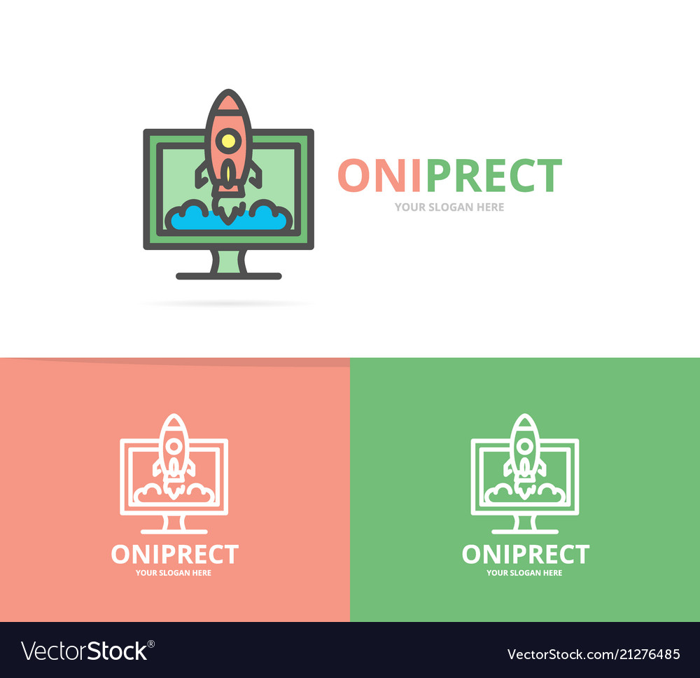 Simple rocket with computer monitor logo design