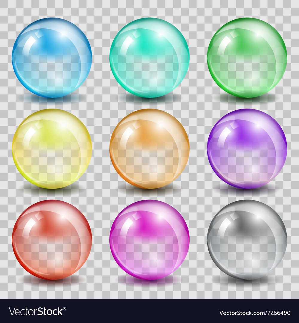Abstract glass color spheres on transparent