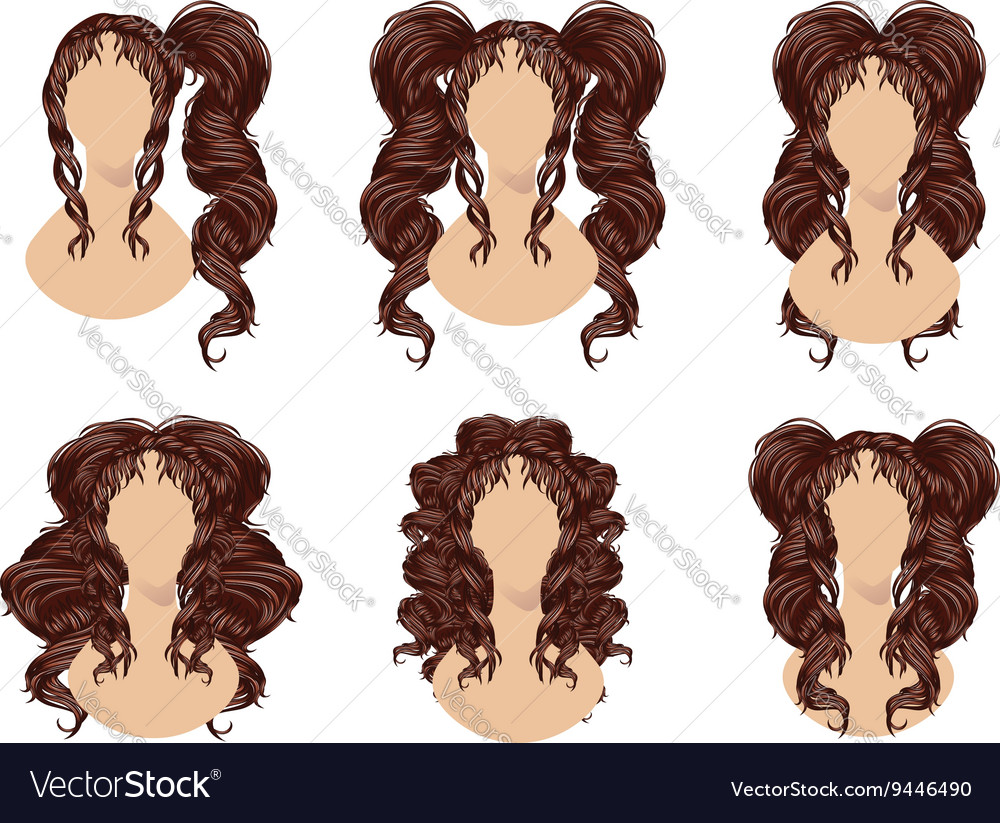 Brunette Curly Hairstyles Royalty Free Vector Image