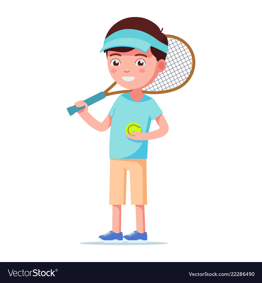 Cartoon boy standing with a tennis ball and racket