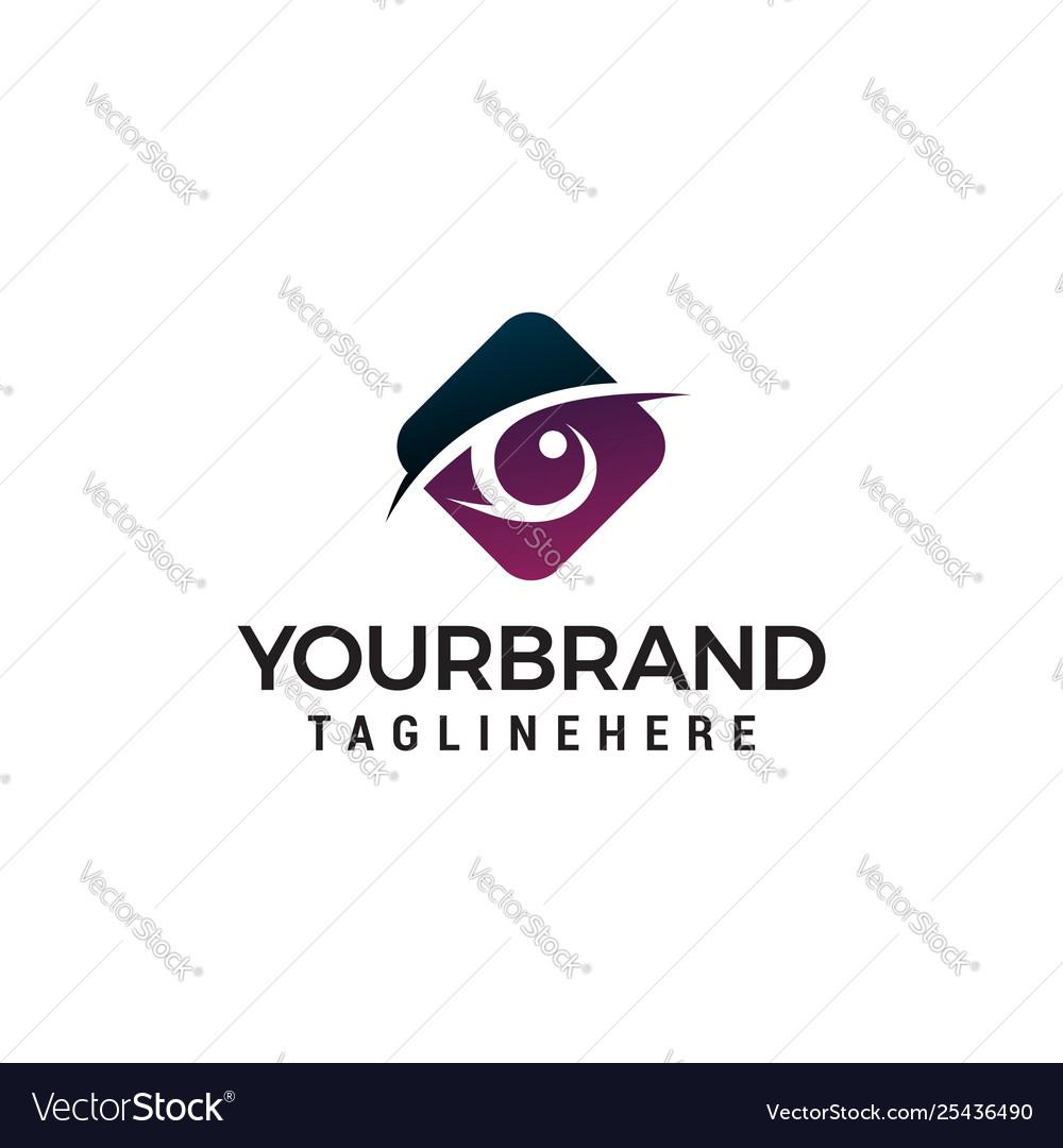 Eyes hexagon logo design concept template