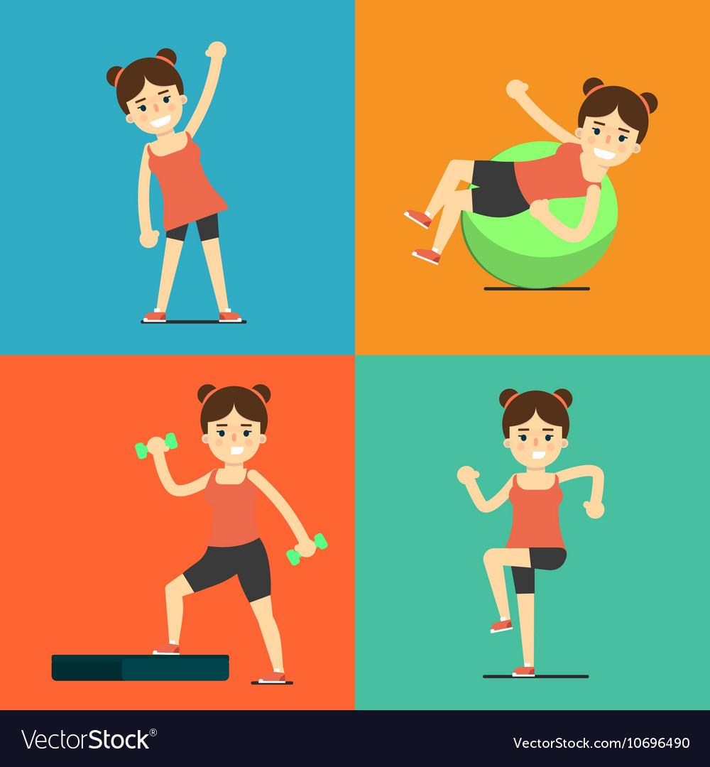 Fitness girl doing exercise set