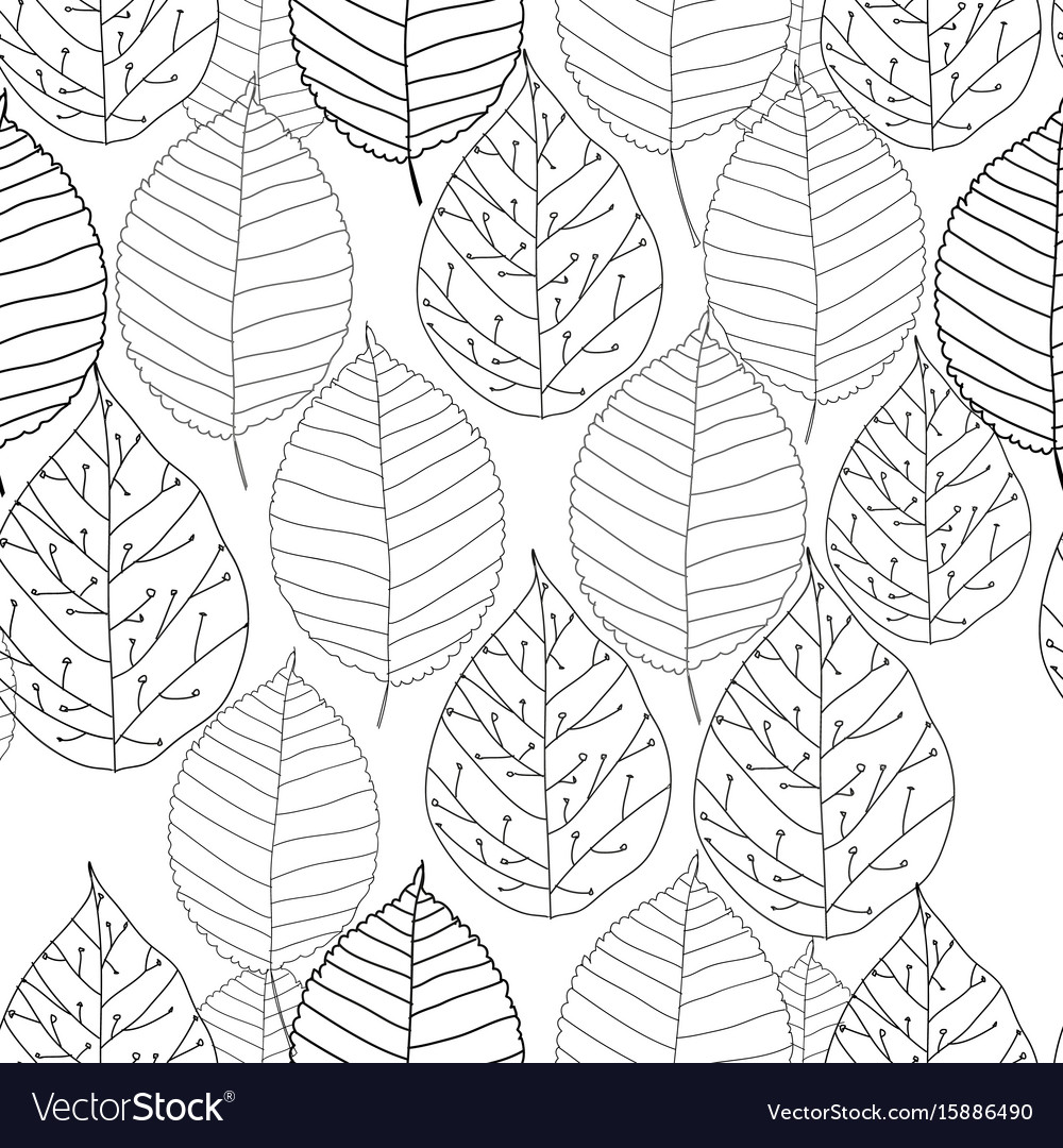 Graphic autumn leaves seamless