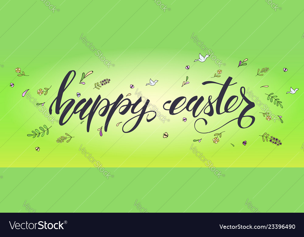 Happy easter handwritten calligraphic text with