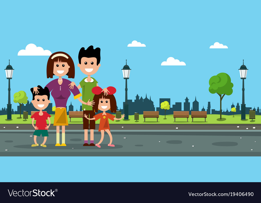 Happy family in city prk flat design