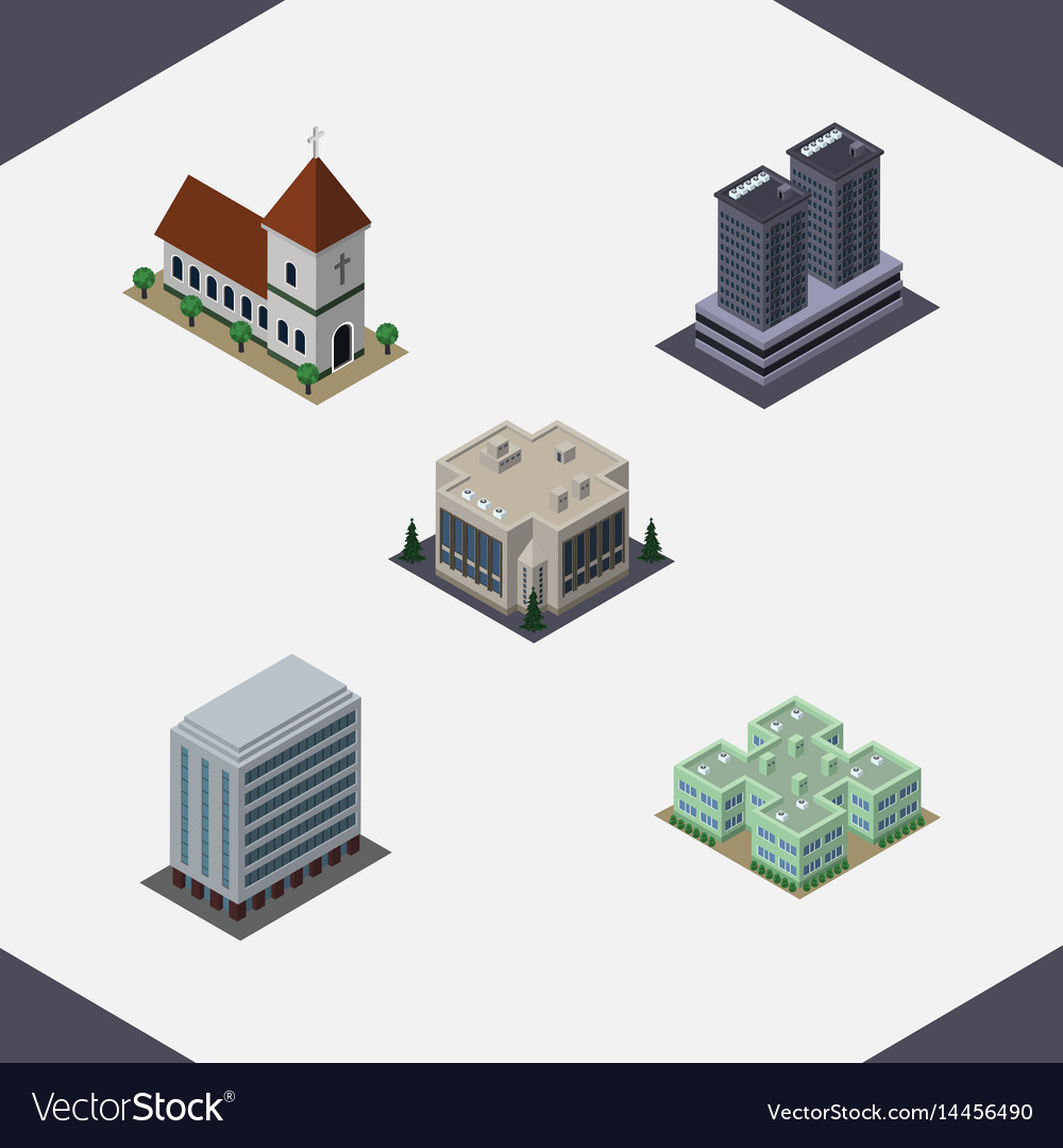 Isometric architecture set of company tower