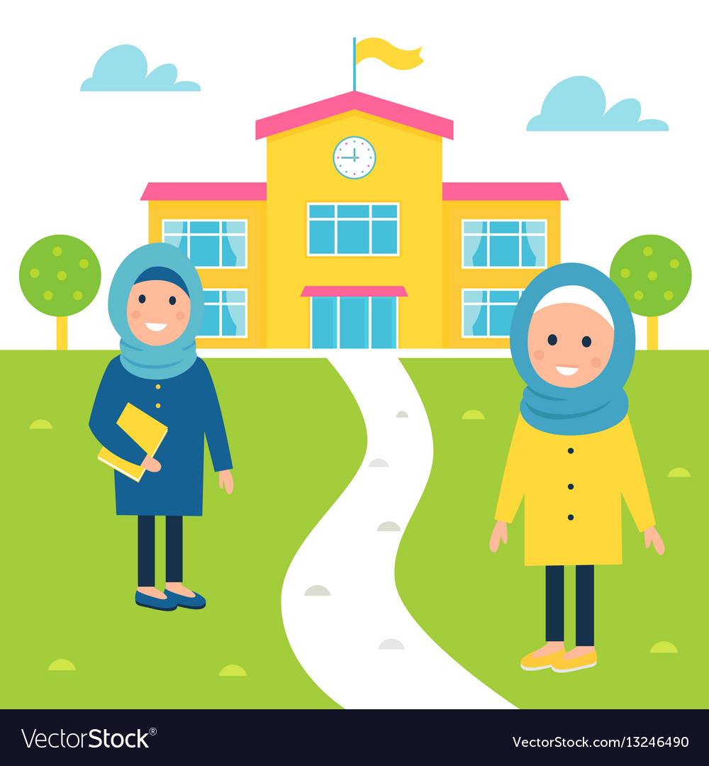 muslim girls going to school royalty free vector image rh vectorstock com school vectorpng school vector logo