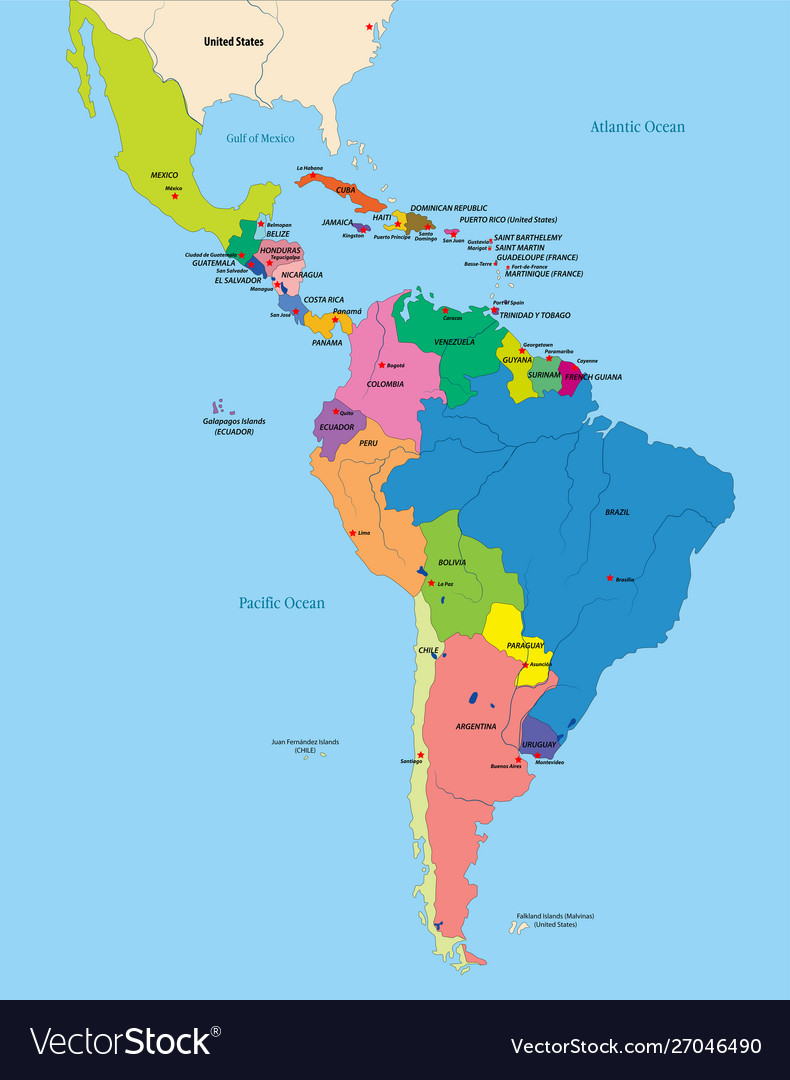 Image of: Political Map Latin America Royalty Free Vector Image