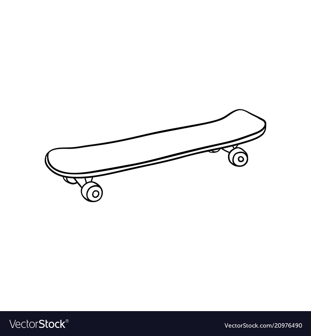 Skate board vintage sketch icon