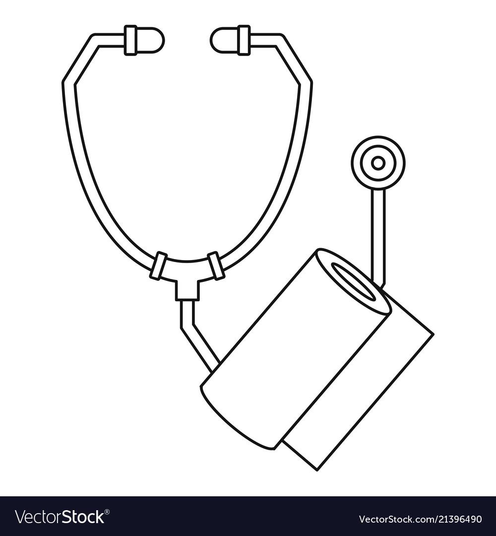 Stethoscope bandage icon outline style