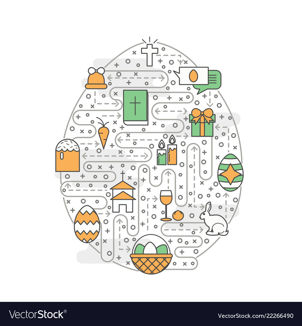 Thin line art easter poster banner template