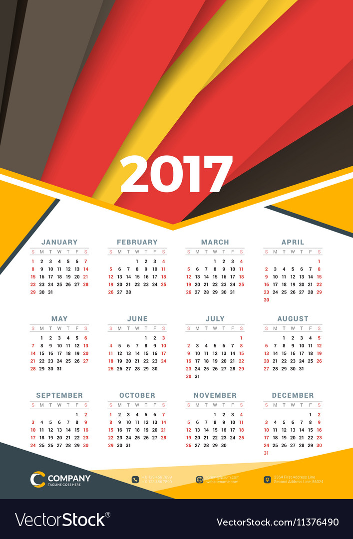 Wall Calendar Poster For 2017 Year Design Print Vector Image