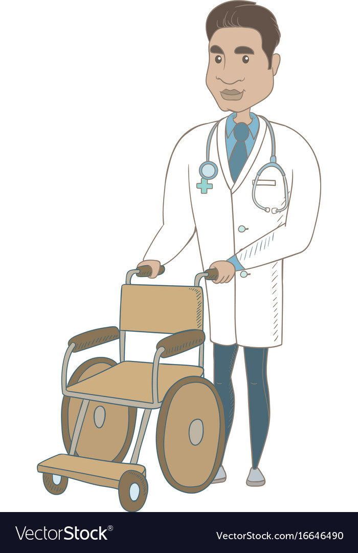Young hispanic doctor pushing wheelchair