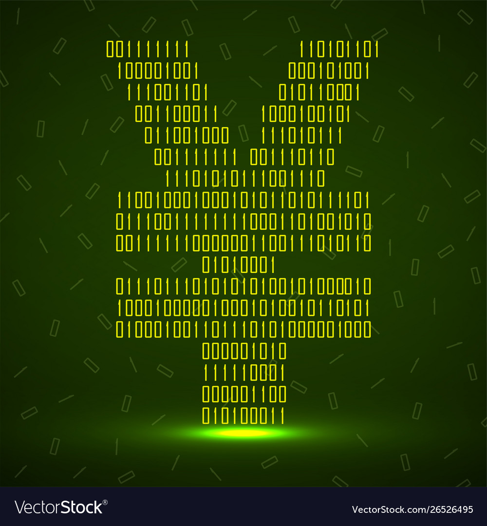 Abstract sign yuan binary code with neon light