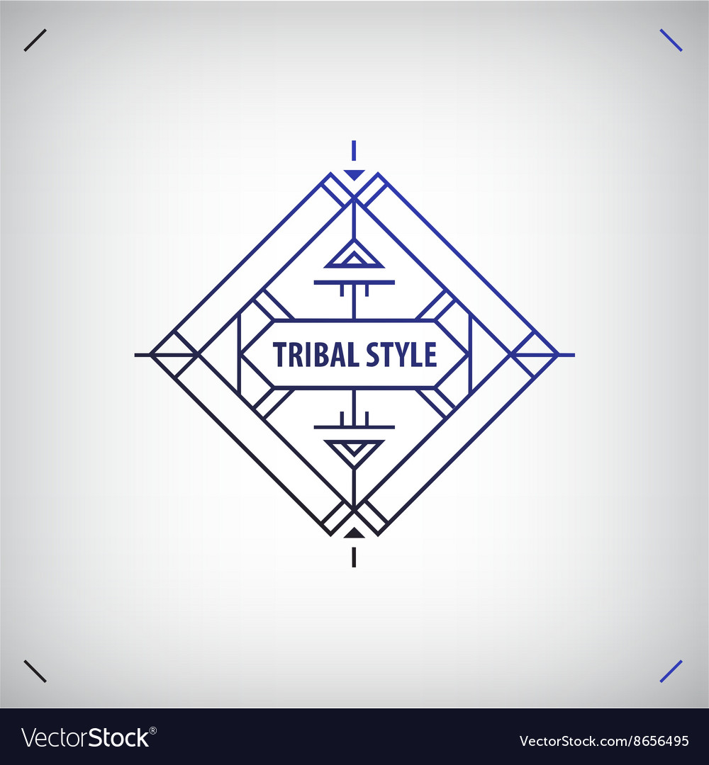 Abstract tribal line shape logo frame