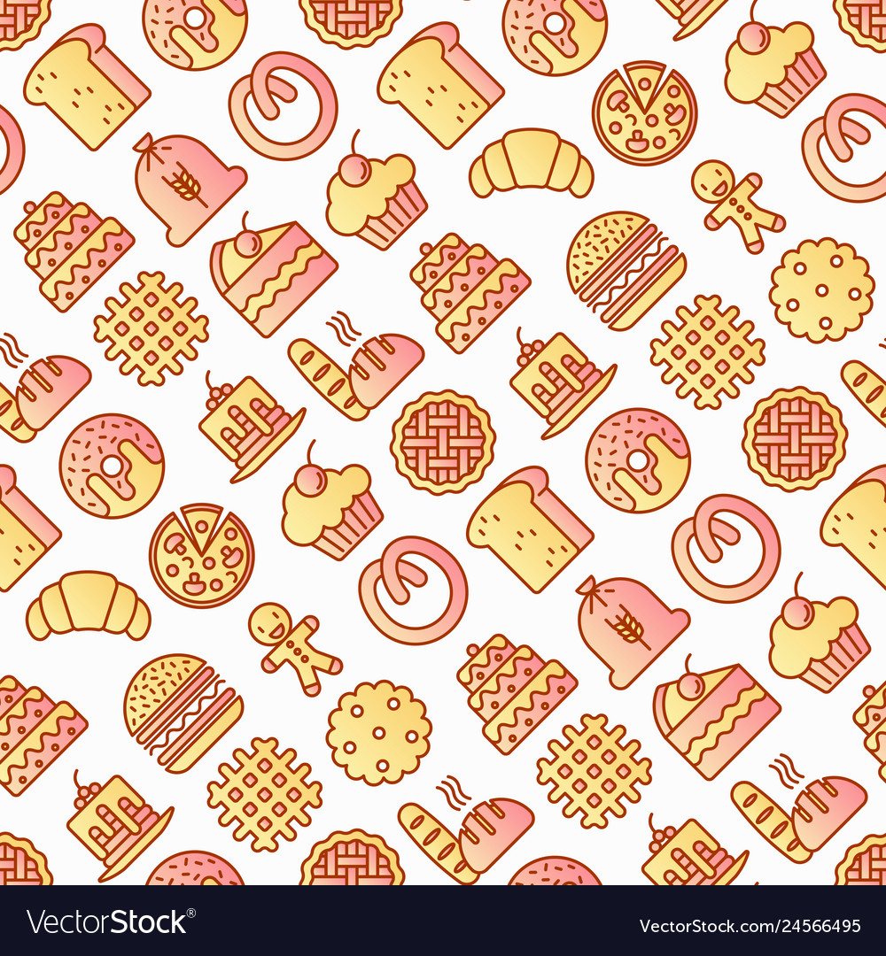 Bakery seamless pattern with thin line icons