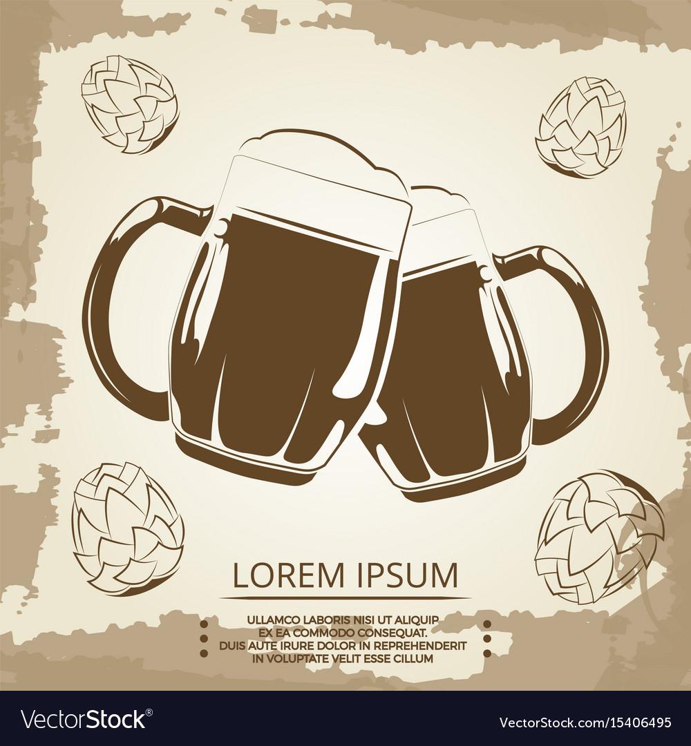 Beer mugs and hops vintage poster for beer shop